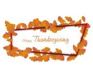 Fond heureux de jour d'action de grâces Feuilles en baisse d'automne avec la frontière, carte de voeux Thanksg de vecteur Photographie stock libre de droits
