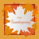 Fond heureux de jour d'action de grâces Feuilles en baisse d'automne avec la frontière, carte de voeux Thanksg de vecteur Photo libre de droits