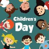 Fond heureux de jour d'enfants Illustration de vecteur d'affiche universelle de jour d'enfants Carte de voeux plat Trame ronde -  photographie stock