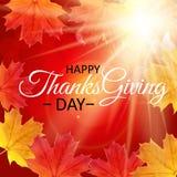 Fond heureux de jour de thanksgiving avec Autumn Natural Leaves brillant Illustration de vecteur illustration de vecteur