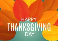 Fond heureux de jour de thanksgiving avec Autumn Natural Leaves brillant Illustration de vecteur illustration stock