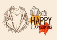Fond heureux de jour de thanksgiving avec le lettrage et l'illustratio illustration libre de droits