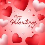 Fond heureux de jour de valentines avec les ballons en forme de coeur illustration libre de droits