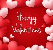 Fond heureux de jour de valentines avec les ballons en forme de coeur illustration stock