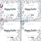 Fond heureux de Pâques avec les décorations traditionnelles de croquis Salutation de Pâques avec les oeufs colorés, lapin illustration de vecteur