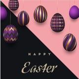 Fond heureux de Pâques avec les oeufs décorés d'or réalistes et les griffonnages mignons Conception à la mode de carte de voeux i illustration libre de droits