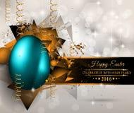 Fond heureux de Pâques avec un oeuf coloré avec l'ombre Images stock