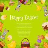 Fond heureux de Pâques Cadre plat d'icônes Concept de vacances de ressort avec l'endroit pour le texte Carte de voeux de Pâques Images libres de droits