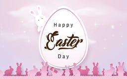 Fond heureux de Pâques Oeuf de pâques avec des lapins dans la couleur de ton rose Image stock