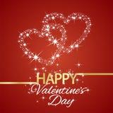 Fond heureux de rouge de coeurs d'étoile de jour de valentines Images libres de droits