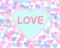 Fond heureux de Saint-Valentin avec des coeurs de couleur Illustration romantique Image libre de droits