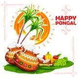 Fond heureux de salutation de Pongal illustration stock