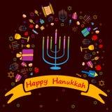 Fond heureux de salutation de vacances de Hanoucca illustration stock