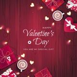 Fond heureux de salutation de jour du ` s de Valentine Vue supérieure sur des boîte-cadeau dans l'emballage différent, confettis, illustration de vecteur