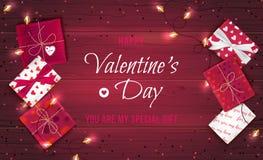 Fond heureux de salutation de jour du ` s de Valentine Vue supérieure sur des boîte-cadeau dans l'emballage différent, confettis  illustration de vecteur