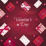 Fond heureux de salutation de jour du ` s de Valentine Vue supérieure sur les boîte-cadeau dans l'emballage différent, lucettes d illustration stock
