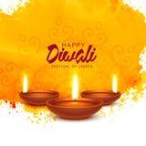 Fond heureux de vecteur de diwali avec l'aquarelle orange Photographie stock