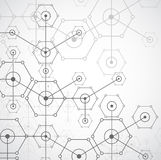 Fond hexagonal de technologie lumineuse blanche abstraite Connectio illustration libre de droits