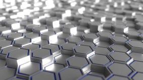 Fond hexagonal gris et bleu de prismes, rendu 3d Images libres de droits