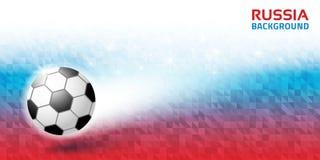 Fond horizontal abstrait lumineux géométrique La Russie 2018 couleurs de drapeau Icône de ballon de football Illustration de vect Image stock