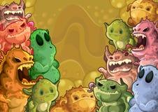 Fond horizontal de monstres mignons illustration stock