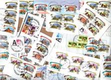 Fond horizontal des timbres-poste russes Photos stock