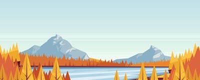 Fond horizontal sans couture de paysage de chute Dirigez l'illustration d'automne des montagnes, des collines, des prés, du lac e Images stock