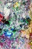 Fond humide abstrait vif coloré hypnotique de peinture de vintage argenté de peinture Taches de peinture photographie stock libre de droits