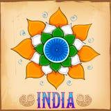 Fond indien de style d'art de kitsch avec le lotus Image stock