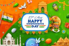 Fond indien montrant sa culture et diversité incroyables avec la célébration de monument, de danse et de festival pour la 15ème illustration libre de droits