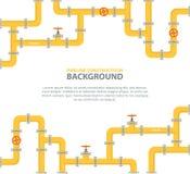 Fond industriel avec la canalisation jaune Pétrole, eau ou gazoduc avec des garnitures et des valves illustration stock