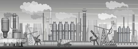 Fond industriel lourd de paysage de vecteur Industrie, usine et fabrication Pollution d'environnement