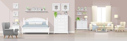 Fond intérieur de maison de campagne moderne avec la combinaison de chambre à coucher et de salon illustration stock
