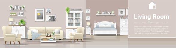 Fond intérieur de maison de campagne moderne avec la combinaison de salon et de chambre à coucher illustration libre de droits