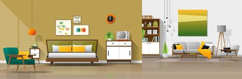 Fond intérieur de maison de cru avec la combinaison de chambre à coucher et de salon image libre de droits