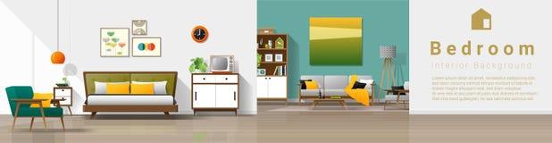 Fond intérieur de maison de cru avec la combinaison de chambre à coucher et de salon illustration libre de droits