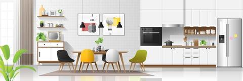 Fond intérieur de maison moderne avec la combinaison de cuisine et de salle à manger illustration libre de droits