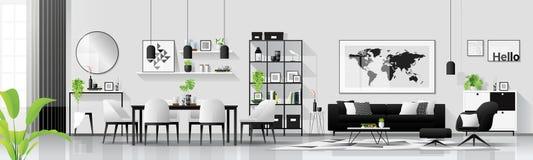 Fond intérieur de maison moderne avec la combinaison de salle à manger vivante et dans le style scandinave illustration de vecteur