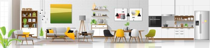 Fond intérieur de maison moderne avec le salon, la salle à manger et la combinaison de cuisine illustration stock