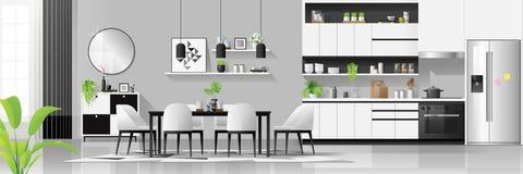 Fond intérieur de maison noire et blanche moderne avec la combinaison de cuisine et de salle à manger illustration de vecteur