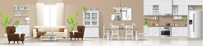 Fond intérieur de maison rustique moderne avec le salon, la salle à manger et la combinaison de cuisine illustration libre de droits