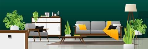 Fond intérieur de salon moderne dans le concept naturel avec les meubles en bois, les usines et le mur vert illustration stock