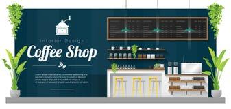 Fond intérieur, scène moderne de barre de compteur de café illustration stock