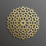 Fond islamique d'or du mandala 3d sur l'ornement rond foncé Texture de musulmans d'architecture Invitation de brochures, persane Photos libres de droits