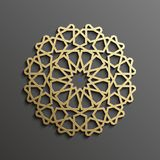 Fond islamique d'or du mandala 3d sur l'ornement rond foncé Texture de musulmans d'architecture Invitation de brochures, persane Photos stock