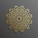 Fond islamique d'or du mandala 3d sur l'ornement rond foncé Texture de musulmans d'architecture Invitation de brochures, persane Photo libre de droits