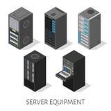 Fond isométrique d'équipement de serveur d'ensemble