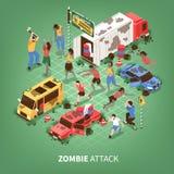 Fond isométrique d'apocalypse de zombi illustration de vecteur