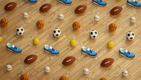 Fond isométrique de forme physique de sports fait de football, football, tennis, boules de base-ball et espadrilles courantes col Photo libre de droits