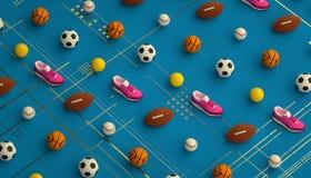 Fond isométrique de forme physique de sports fait de football, football, tennis, boules de base-ball et espadrilles courantes col Photos libres de droits